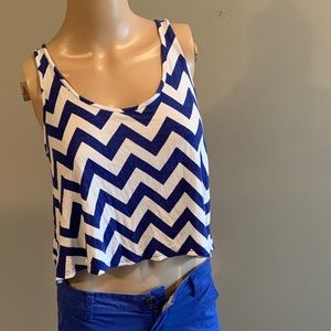 Rue 21 Navy Blue Crop Top with Pink Bow